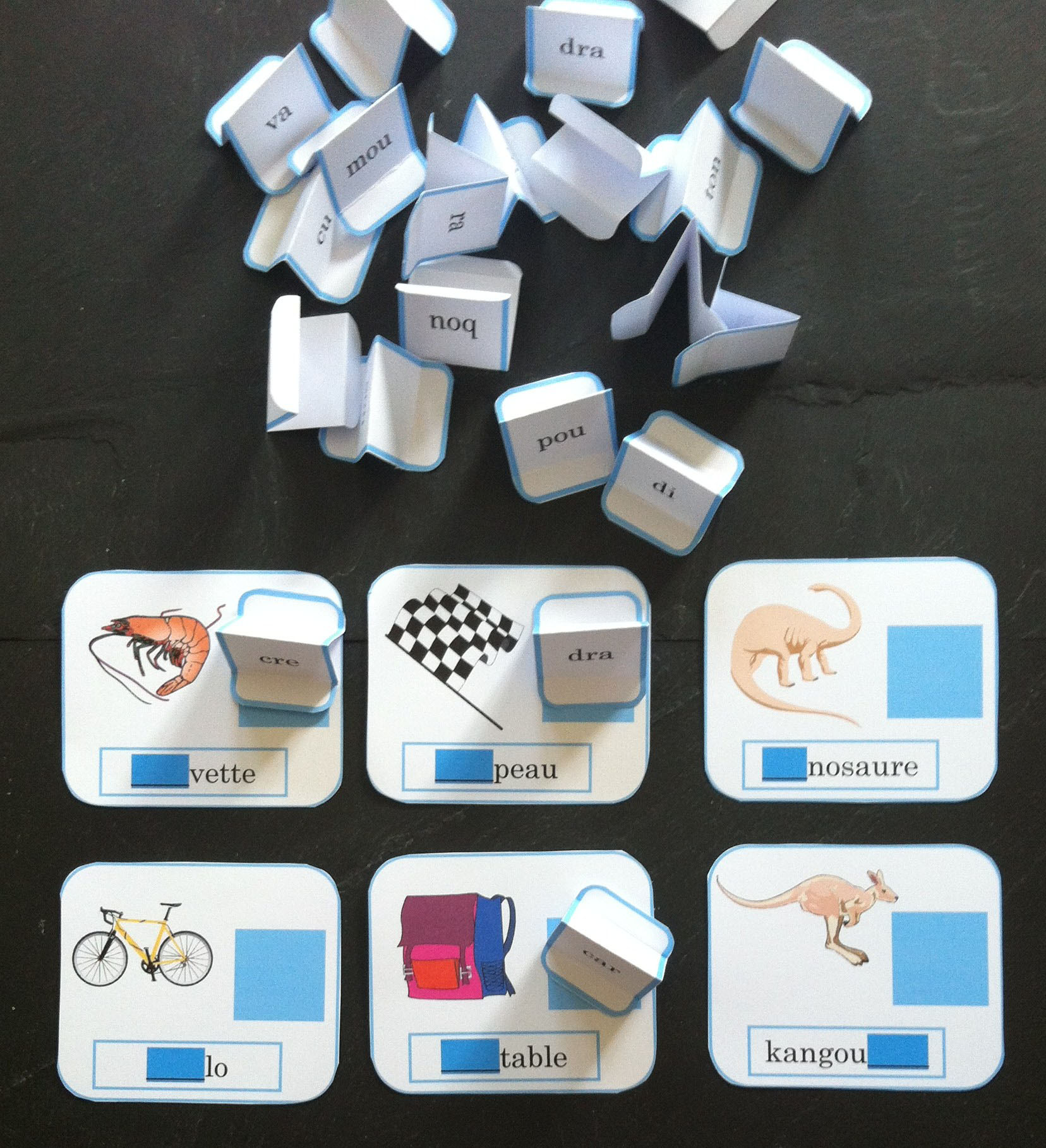 Jeu pour apprendre à lire :  Le loto des syllabes