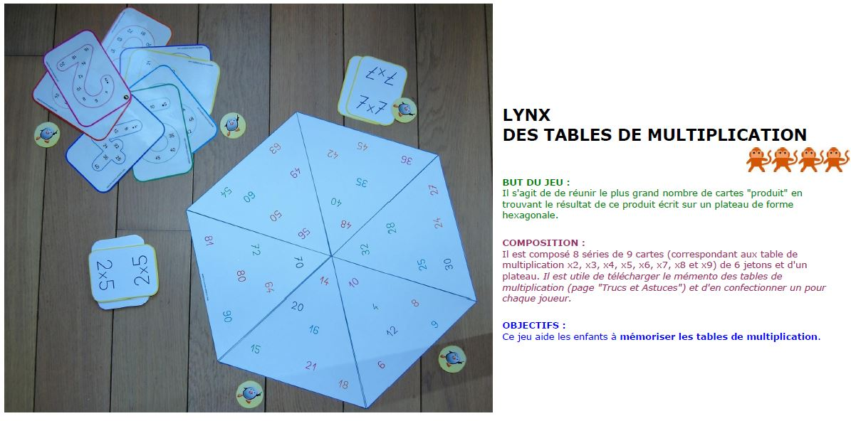 Lynx des tables de multiplication lire crire compter for Table de multiplication de 7 jeux